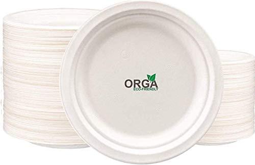 ORGA Pappteller Einwegplatte weiß, rund rein (50 Stück), robust, aus nachwachsendem Zuckerrohr hergestellt,extra stark, biologisch abbaubar, 9 Zoll