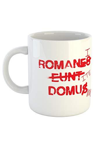clothinx Taza de café con diseño de Brian Romani Ite Domum – Römer va a casa | Regalo ideal para profesores latinistas y amantes del cine | Diseño de culto para los amantes del cine clásico