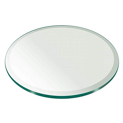 All Safe Glass 30' Round Tempered Glass Table Top 1/2' Thick Bevel Edge - Clear