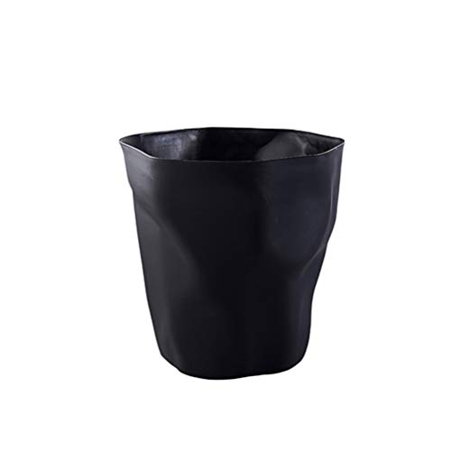 Nuobesty - Papelera de plástico estilo nórdico plisado en forma de papelera multifunción para cuarto de baño, cocina o salón (blanco), pp, Negro , mediana