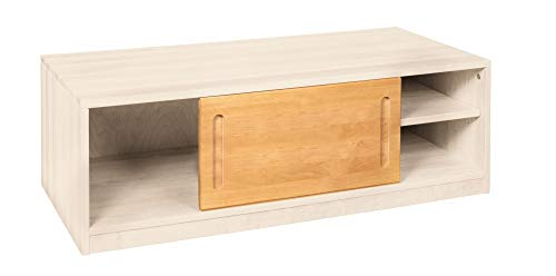 BioKinder Lina Dressoir Commode met schuifdeur van massief elzenhout en grenenhout 120 x 55 x 40 cm wit gelakt, voor elzenhout