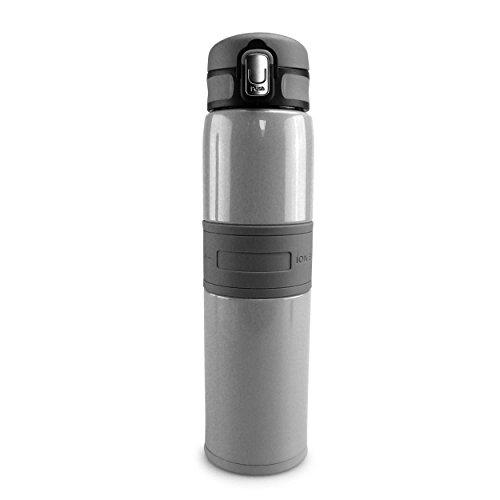 SMARDY Edelstahl Trinkflasche auslaufsicher 480ml, Isolierflasche doppelwandig grau, mit Ionen Energy für Schule und unterwegs