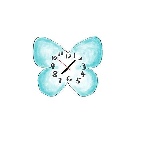 LANKOULI Schmetterlingsuhr Wanduhr Wohnzimmeruhr Wandkarte stumme Atmosphäre Wandbehang nach Hause-16 Zoll_Himmelblau