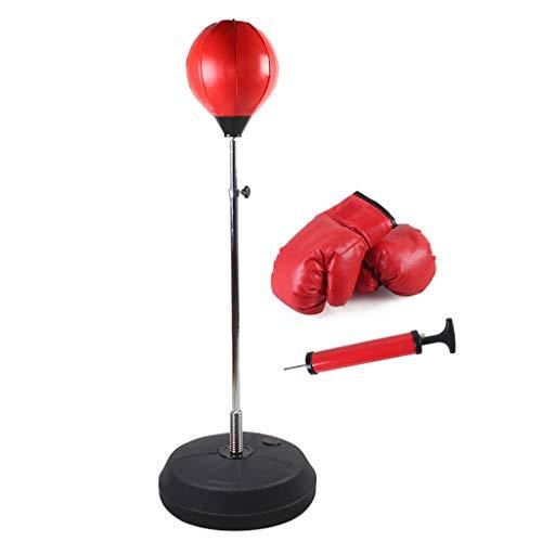 Speed Ball Set, bokstraining Tuimelaar, met bokshandschoenen, hoogteverstelling, de ontluchting en decompressie Vertical Sanda Reactie Adult bokszak, fitnesstoestellen (Red)