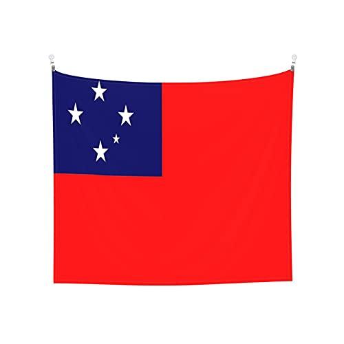 Gobelin Flagge von Samoa, Wandbehang, Boho, beliebt, mystisch, Trippy, Yoga, Hippie, Wandteppiche für Wohnzimmer, Schlafzimmer, Wohnheim, Heimdekoration, schwarz & weiß Stranddecke