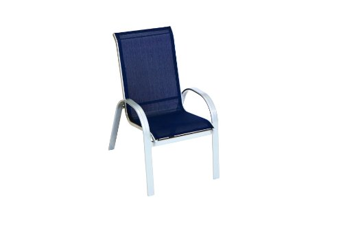 MERXX Garten-Stapelsessel Alugestell Textilbespannung Marineblau