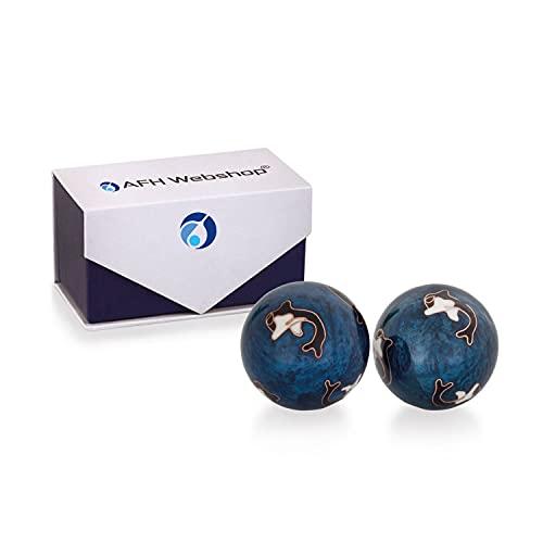 Meditation Qi-Gong-Kugeln mit Klangwerk   Klangkugeln   Yin Yang   Design Delfin   verschiedene Durchmesser (Ø 30 mm)