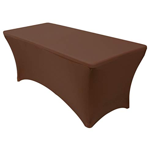 Your Chair Covers Rectangular Fitted Stretch Spandex Table Cover, 6 ft, Chocolate Brown