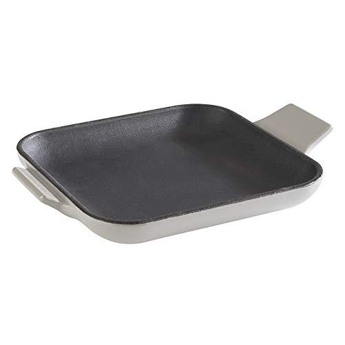 """APS Servierpfännchen """"Cast Iron"""" - Mini Gusseisen-Pfanne, Gusseisen emaliert, eckig, B x T x H: 13 cm x 13 cm x 2 cm, stapelbar, Backofen geeignet, Schale, Grau"""