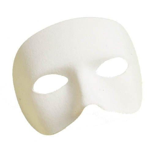 PARTY DISCOUNT ® Maske halbes Gesicht aus Stoff, weiß