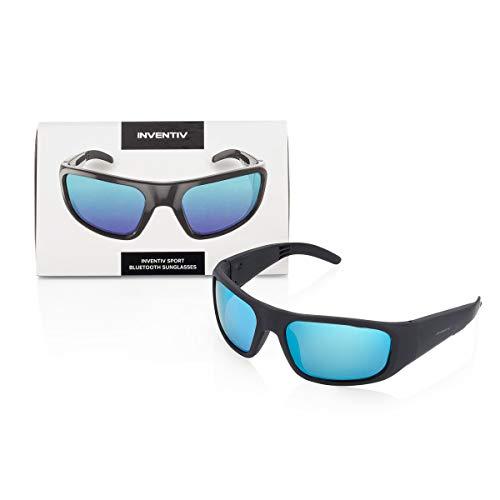 Inventiv Sport Wireless Bluetooth Audio Sunglasses, Open Ear Headphones Music & Hands-Free Calling, for Men & Women, Polarized Glasses Lenses (Black Frame / Blue Tint)