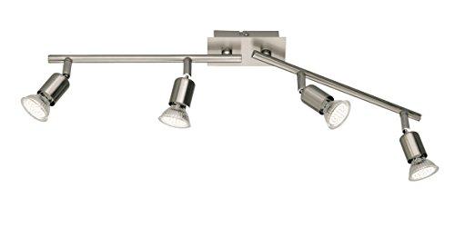 Reality|Trio LED Deckenleuchte Deckenlampe Nickel matt inkl. Leuchtmittel ~ 4 flammig, 10W EEK A