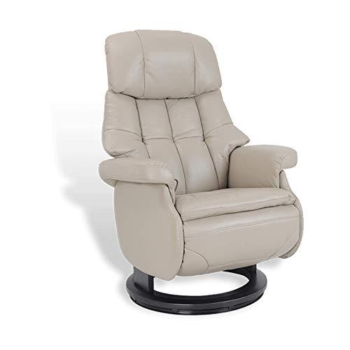 MND MY NEW DESIGN, Fauteuil de Relaxation Design, Cosy, très Confortable avec Pouf intégré (Beige, Cuir)