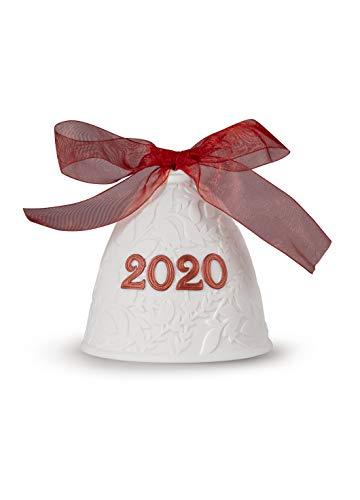 LLADRÓ Campana Navidad 2020. Rojo. Campana De Navidad de Porcelana.