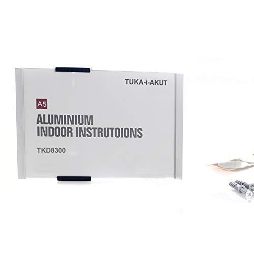 TUKA-i-AKUT A5 Placa para Puerta, Aluminio y Cubierta de Acrílico, Señal de Puerta de Oficina, Letrero 210mm x 149mm, Letrero de Información, Montaje Atornillado o Fijación Adhesiva, TKD8300-A5