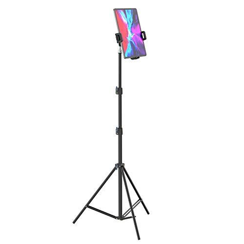 Smatree Soporte de Piso para Teléfono y Tableta, Trípode Ajustable Portátil, Compatible con 4.7-12.9 Pulgada iPhone/iPad/iPad Mini/Air/Pro/Huawei MatePad/Surface Pro - Negro