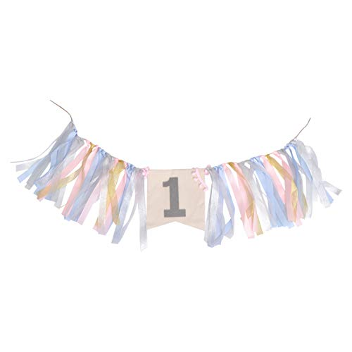 PRETYZOOM High Chair Banner 1st One Birthday Party Banner Hanging Garland Bunting Flag Background Photo Props for Girl Baby Shower Decor Birthday Party Supplies