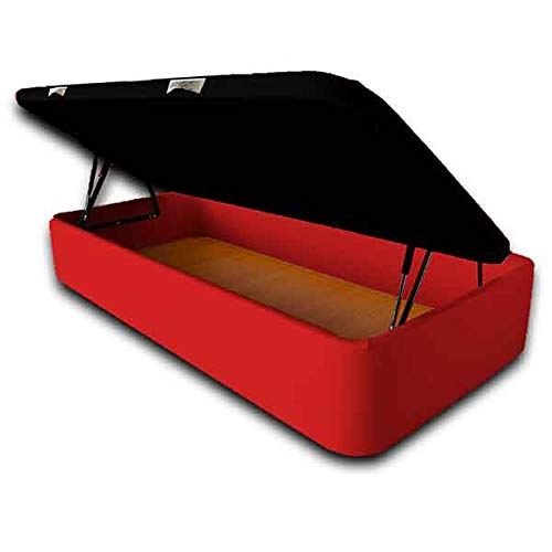 Ventadecolchones - Canapé Abatible Apertura Lateral Serena Gran Capacidad Tapizado en Polipiel Rojo Medidas 90 x 200 cm con Tapa en Tejido 3D