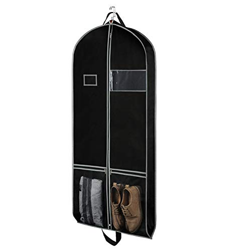 Zilink Breathable Gusset Garment Bags Suit Bag for Storage 60 inch Long Dress Suit Cover with 2 Large Pockets and a PVC Card Holder, Black