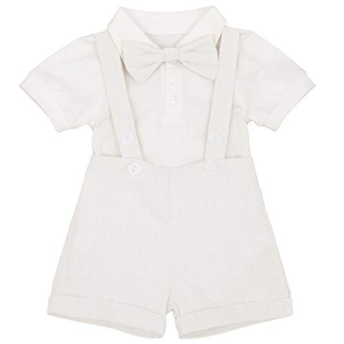 IBTOM CASTLE Baby Boy Little Gentleman Jersey Suits Short Sleeve Wedding Suit Jumpsuit Tuxedo Christening Baptism Formal Suspender Shorts Bow Tie Outfits Party Costumes White 18-24 Months