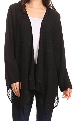 Sakkas 30232 - Isenia Cardigan Open Front Kimono Manga Larga Bordada Top Blusa Encaje - Negro - OSP