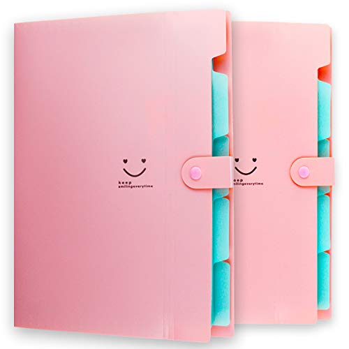Placstic Expanding File Folders Accordion Document Organizer,5-Pocket,A4 Letter Size,Snap Closure,School and Office Use,2-Pack,Pink