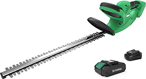 Cordless Hedge Trimmer, 24-Inch Dual-Action Blade, 5/8' Cutting Capacity & 6.8-lb Lightweight Electric Bush Trimmer, 20V 2.0Ah Battery Operated Hedge Trimmer for Hedges/Bushes/Shrubs/Branches