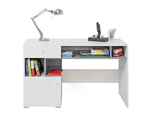 Furniture24 Schreibtisch Sigma SI - 10 Schülerschreibtisch mit 1 Schublade und 1 Tür, Jugendzimmer (Weiß Lux/Beton)