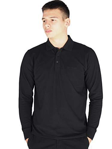 Pierre Cardin Mens Neue Saison langarm Klassisches Premium Polo T-Shirt anbringen. (2X-Groß, Schwarz)