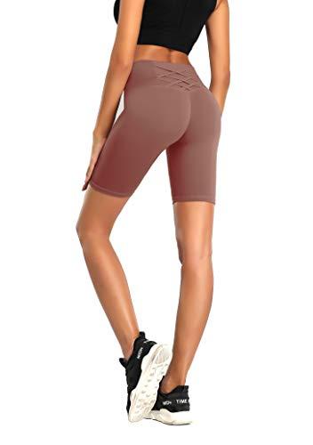 QueenDer Sport Leggings Damen Fitness Yoga Hose Hohe Taille Lange Blickdicht Sportleggins mit Taschen für Workout Gym Running (1/2 Rote Bohnen Paste, XL)