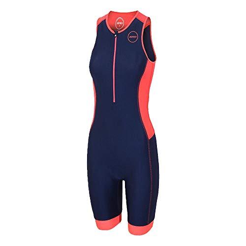 ZONE3 Women's Aquaflo Plus Combinaison trifonction Femme, Bleu Marine/Corail, Petit
