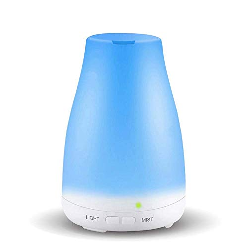 Difusor de aceites esenciales, aromaterapia 120 ml Máquina, ultrasónico humidificador de vapor frío con 7 colores de las luces LED y sin agua de apagado automático, blanco, humidificadores Vicks del R