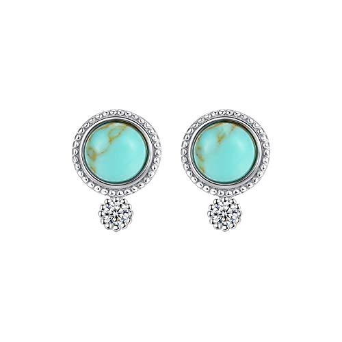 Adokiss Pendientes de plata 925 sin níquel para mujer, forma redonda, con turquesa verde creada, oro blanco, regalo de aniversario para su mejor amiga