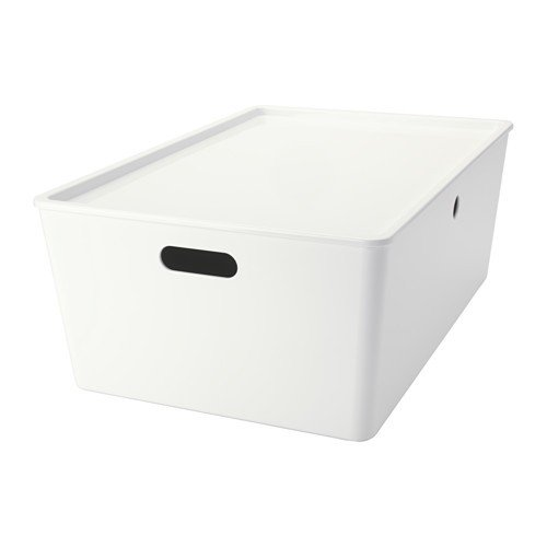Ikea KUGGIS Box mit Deckel; in weiß; (37x54x21cm)