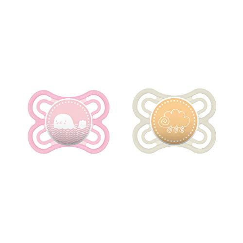 MAM Perfect Schnuller im 2er-Set, fördert eine gesunde Zahn- und Kieferentwicklung, Baby Schnuller aus speziellem MAM SkinSoft Silikon mit Schnullerbox, 0 - 6 Monate, rosa/beige