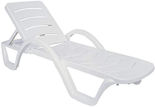 CLP Set van 4 ligstoelen Havana I 4X kunststof ligstoel met wielen I rugleuning 5-voudig verstelbaar I stapelbare ligstoel weerbestendig wit