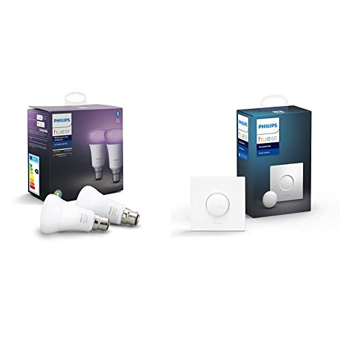 Philips Hue Pack de 2 Bombillas Inteligentes LED B22, con Bluetooth, Luz Blanca y Color, Posibilidad de Control por Voz + Interruptor Smart Button, con Bluetooth y Compatible con Alexa y Google Home