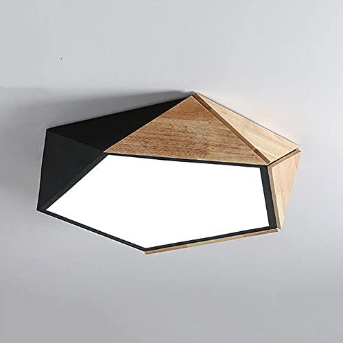 CSSYKV Lámpara De Techo LED Geométrica Diseño Moderno Y Minimalista Aplique De Montaje Empotrado Lámpara De Techo Metal De Atenuación Tricolor con Lámparas De Techo De Madera