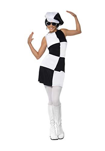 Smiffys-21142M Disfraz de Fiesta Chica años 60, con Vestido y Sombrero, Color Negro y Blanco, M-EU Tamaño 40-42 (Smiffy'S 21142M)