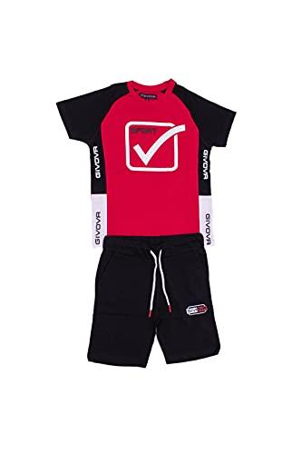 givova - Mono de verano de algodón para niño, compuesto de camiseta y pantalón corto disponible en varios colores. rojo 10 años