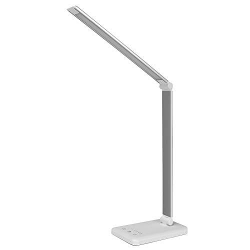 TENGCHUANGSM Durable Stepless Dimmable escritorio lectura luz plegable giratoria táctil conmutable lámpara de carga Puerto Timing escritorio Lámparas de escritorio