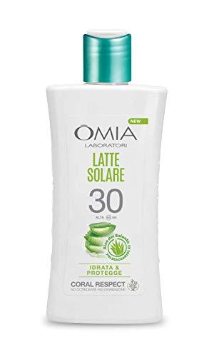 Omia - Latte Solare Protettivo SPF 30 Aloe Vera del Salento, Protezione Solare Viso e Corpo, per Pelli Chiare e Sensibili, Dermatologicamente Testato, Flacone da 200 ml