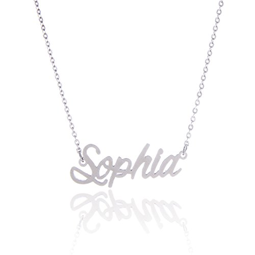 AOLO Stainless Steel Beautiful Sophia Girl's Name Necklace, Sophia