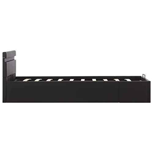Tidyard Cama Elegante tapizada - con Sistema de iluminación LED Cama canapé hidráulica con LED Cuero sintético Negro 100x200cm