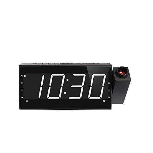 Kaidanwang Cabecera Cuarto Silencio Despertadores Radio de Reloj FM Digital LED, proyector de 180 ° con 3 Niveles de Brillo, alarmas duales y 15 Volumen, Puerto de Carga USB Regalo