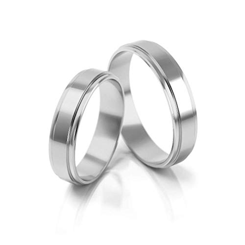 JC Trauringe Silver 925 pair of wedding rings, engagement rings in 4.5 mm, partner rings with engraving in elegant box, 2 wedding rings, men's ring without and women's ring with stones, PL047-S