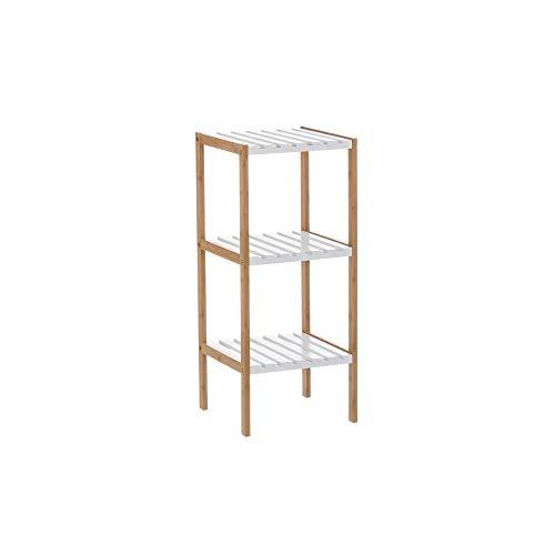 Estantería con 3 baldas de bambú nórdica Blanca de 80x33x