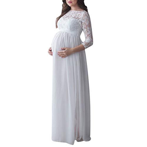 Vestido de Maternidad Mujeres Encaje Fiesta Largos Boda Vestido Embarazada Larga Faldas Fotográficas de Maternidad Apoyos de Fotografía Vestidos de Cóctel STRIR (XXL, Blanco)