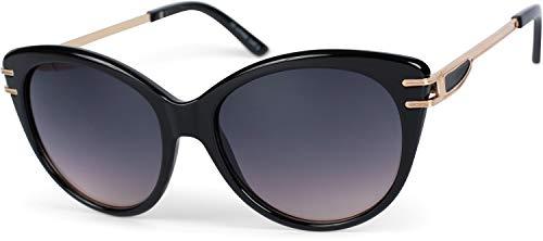 styleBREAKER Gafas de sol para mujeres en forma de ojo de gato con lentes de policarbonato y patillas de metal, Gafas de ojo de gato 09020110, color:Marco negro/delineado vidrio gris