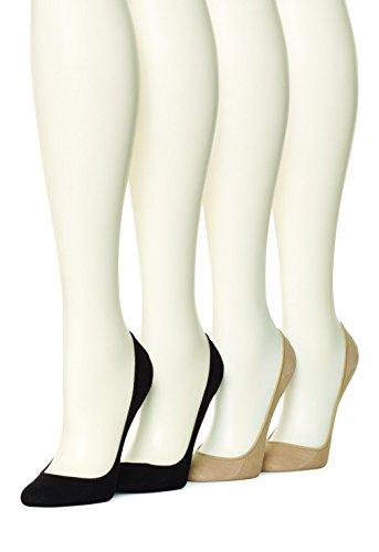 HUE Women's 4 pair pack Cotton Liner, Asst, Small/Medium (Size 1)